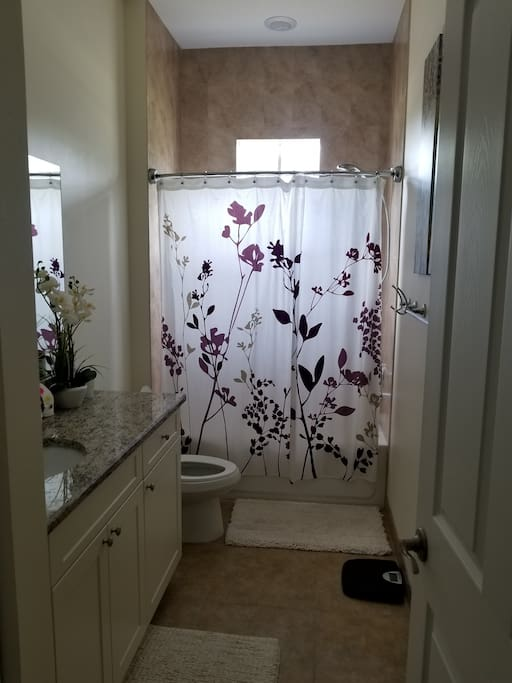 Bathroom not connected but right outside of bedroom door