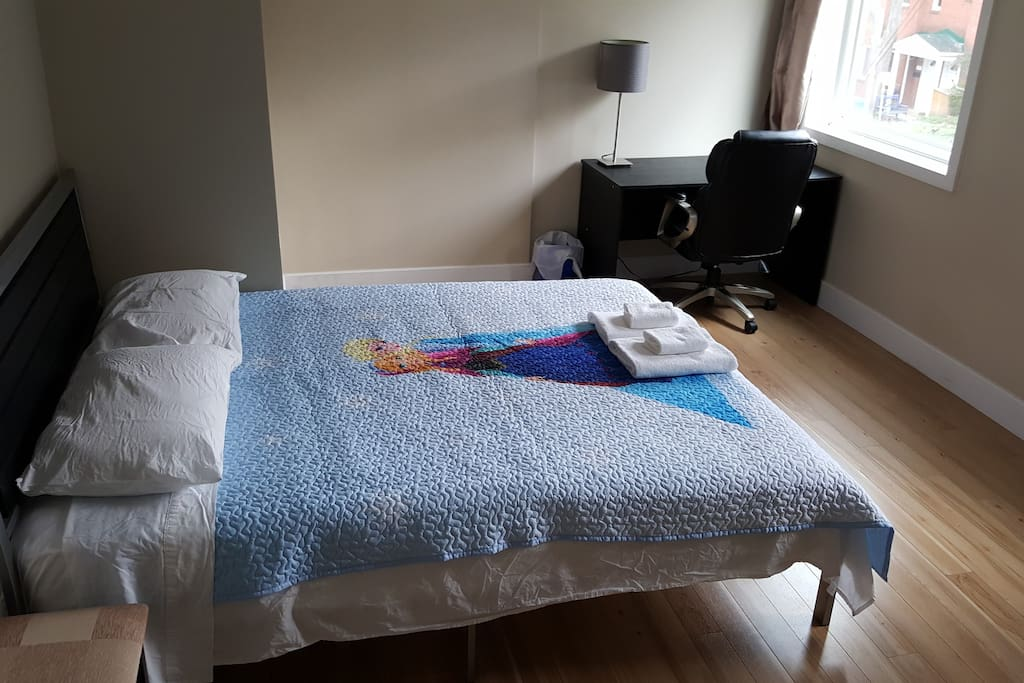 Enjoy your stay in Ottawa in a large private room with a small workspace, lit by lots of natural light.