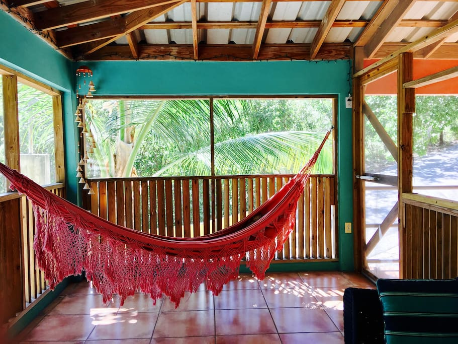 Relax in our comfy porch hammock
