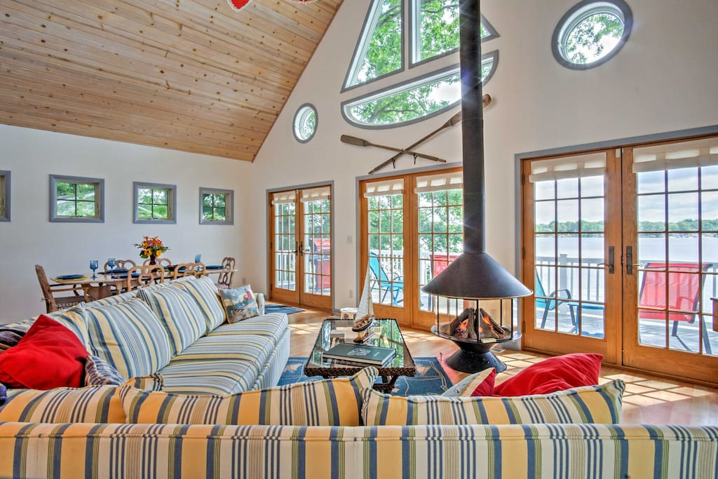Cozy up by the fire or take in the stunning views in this living area.
