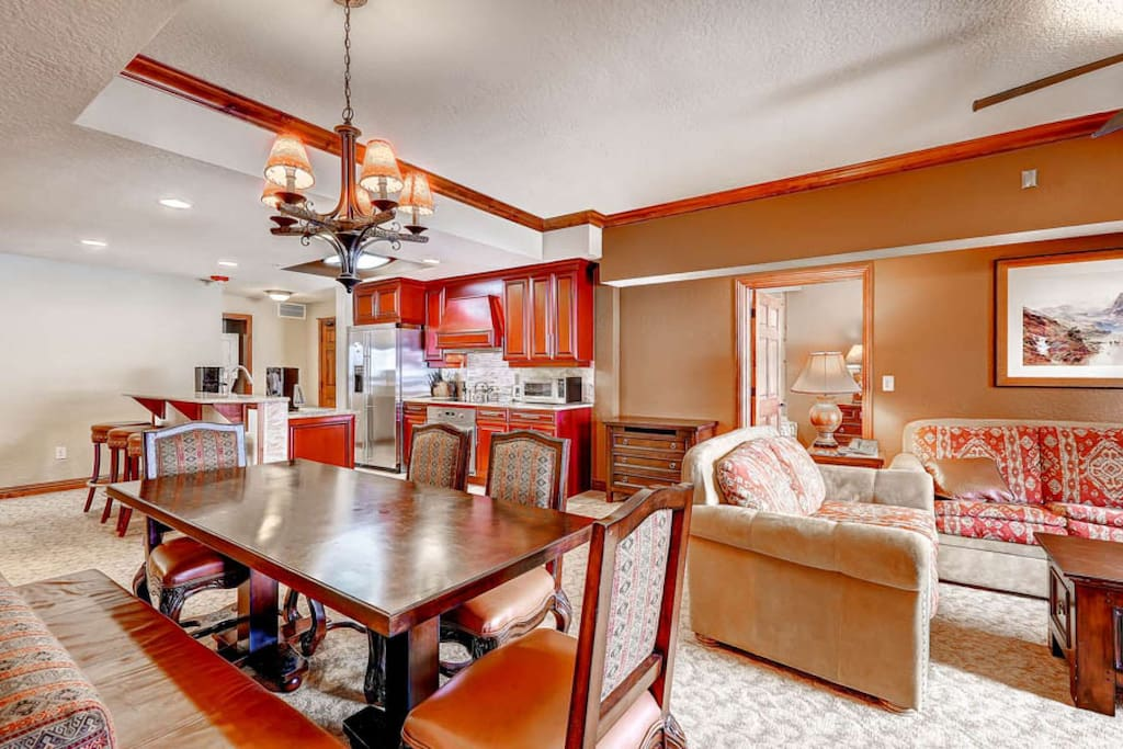 Large open floor plan throughout the property; dining room table easily seats 6; gourmet kitchen with all the fixings.