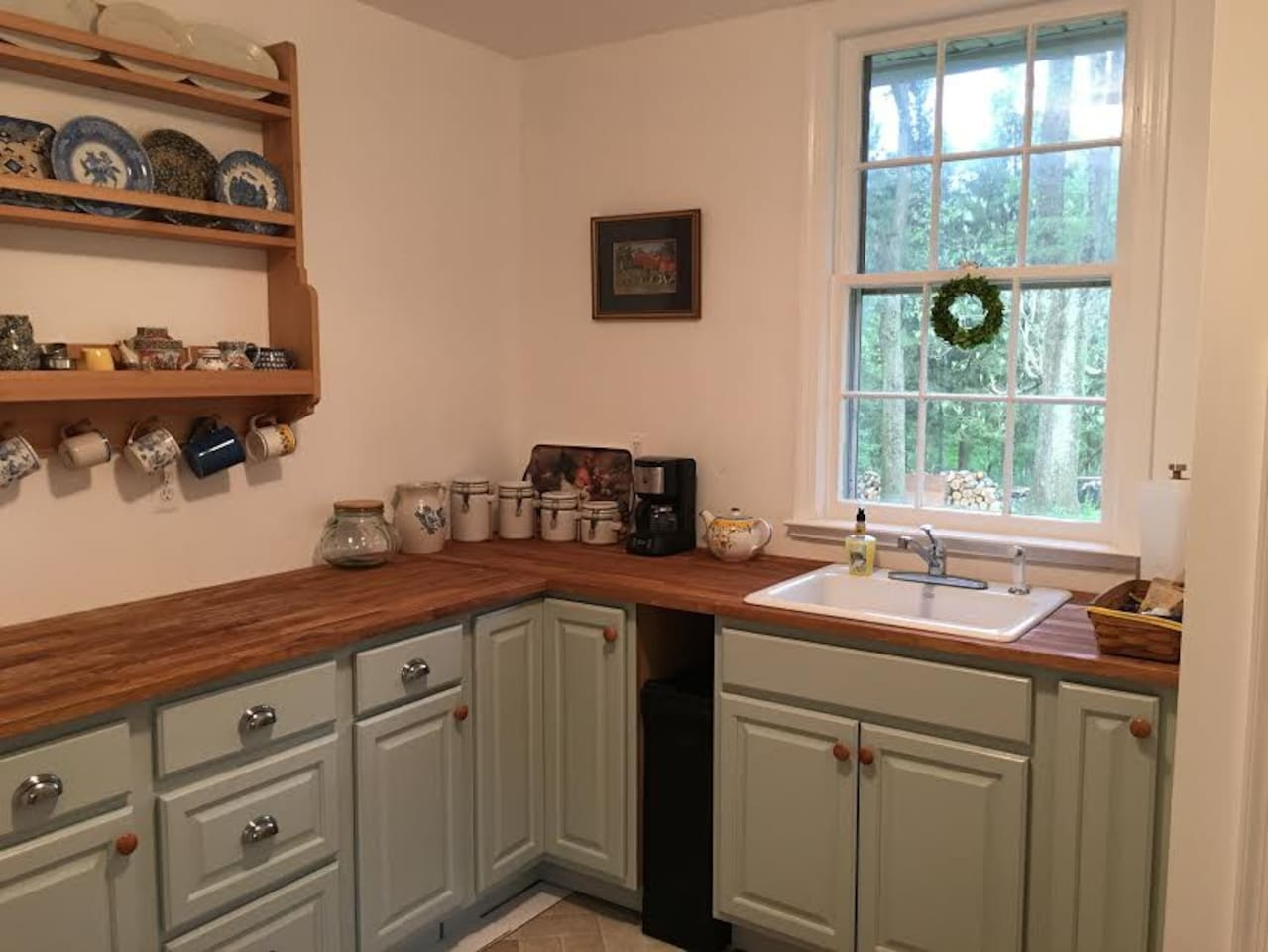 Bright airy kitchen - microwave, coffee maker electric skillet and toaster