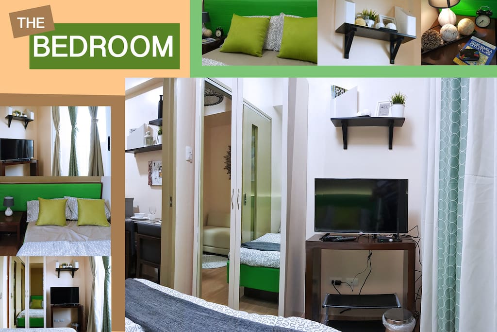Bedroom has a wardrobe cabinet to keep your belongings and aTV with digital box for entertainment.