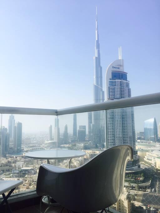 Balcony with amazing Burj Khalifa view