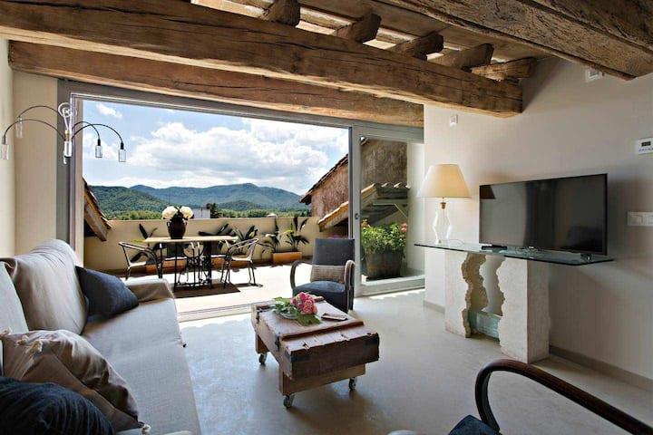Argenter, charmant penthouse et terrasse avec vue sur les montagnes
