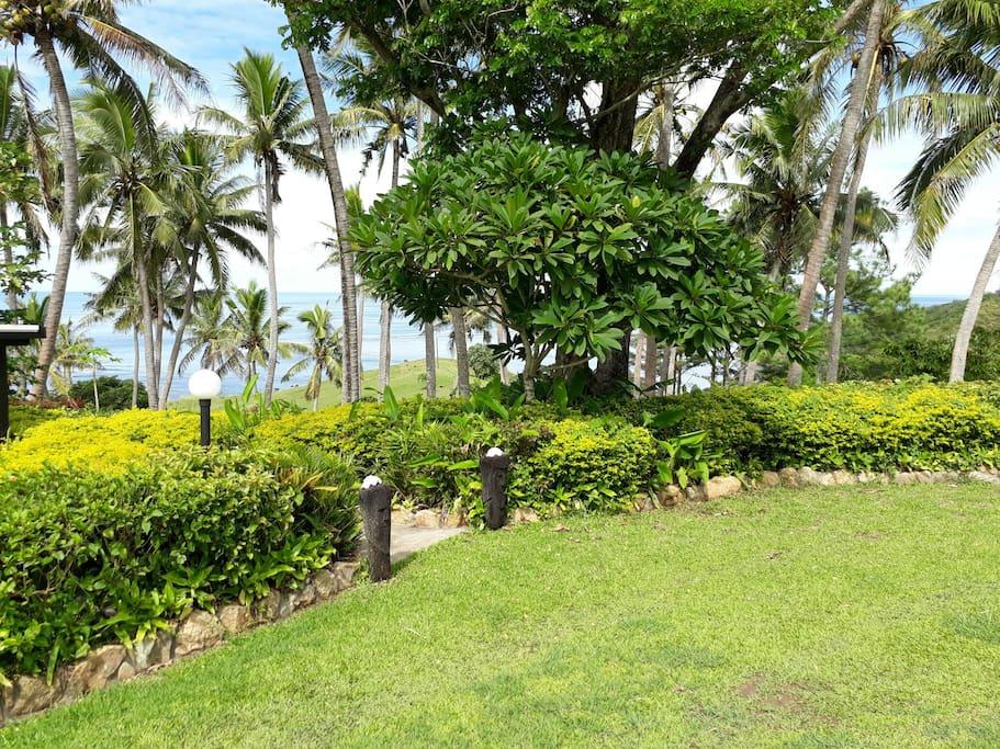 Villa Lomalagi's car park and entry.