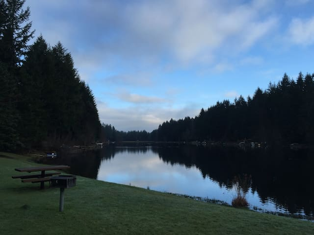 The lake from the community area at dawn.