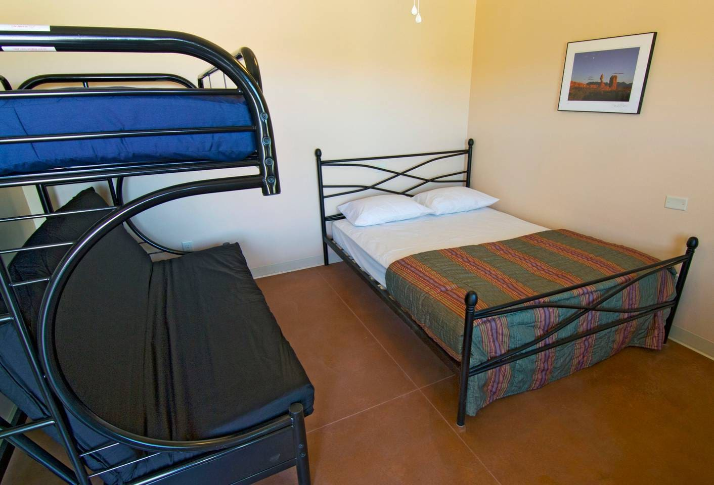 Each room sleeps up to 5 people. Linens, pillows, and towels are provided.
