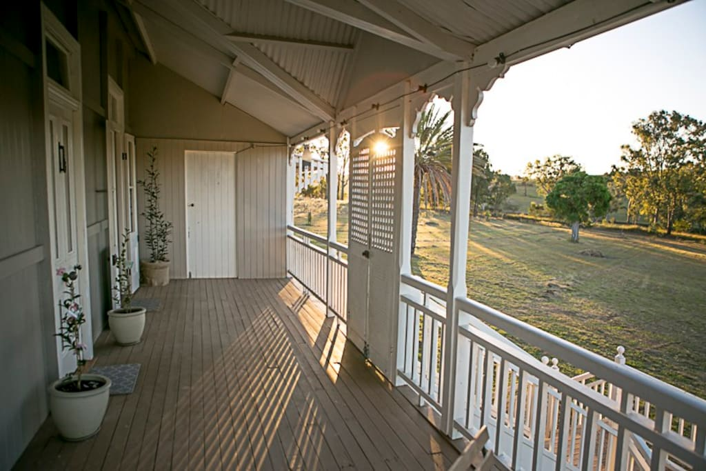 Watch the sunset with a glass of champagne on the front deck