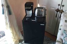 Fridge, Keurig coffee maker, toaster