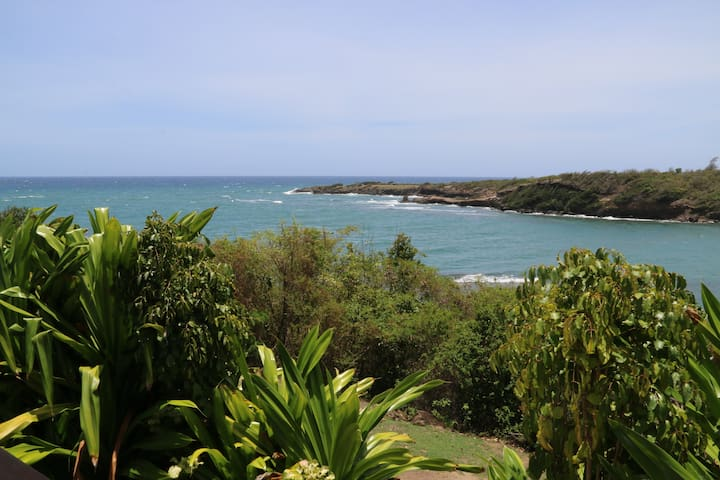 View from veranada out to the ocean over Crochu Bay