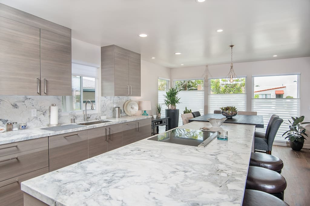 State-of-the-Art, fully furnished kitchen with stainless Bosch appliances, beautiful Quartzite Counters and induction cooktop, in kitchen dining, open concept living room with Catina patio doors for indoor/outdoor living: opens up to a large wood deck and backyard for outdoor coastal living. Whole House has Quiet A/C & NEST Smart Thermostat!