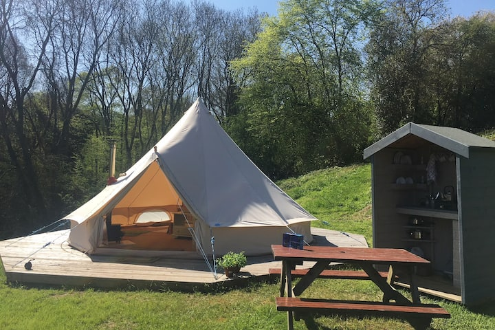 'Dingle View' Furnished Bell Tent with wood stove
