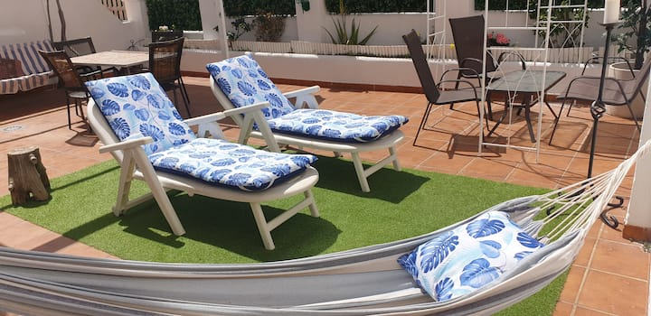 Fany sun, Terraza privada, Piscina y Barbacoa