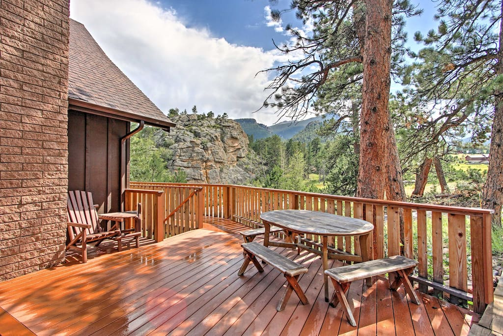 Enjoy views of Long's Peak from the deck!