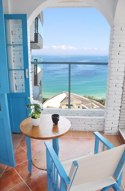 【克里特的天空】大东海希腊田园风/阳台海景大床房、连住4晚免费接机、连住7晚以上提供免费接送机