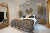 This bedroom #1 is our biggest bedroom.  Beautifully designed to give you a tropical vibe while you are in Bali. So even when you are inside a bedroom, you will still feel that Bali vibe that everyone love!