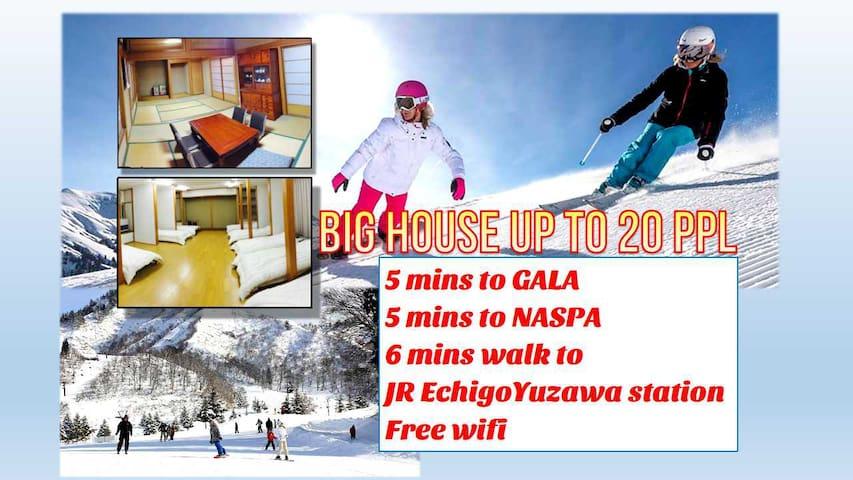 FJ01 新潟.別墅包棟/GALA滑雪場2分/JR越後湯沢站走6分/免費WiFi/220㎡/大人數可