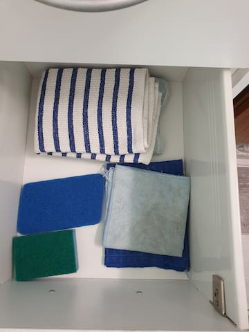 2 tea towels, 2 dish cloths and 2 types of scourers