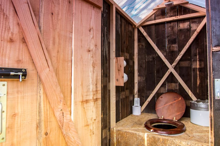 Inside the private compost toilet