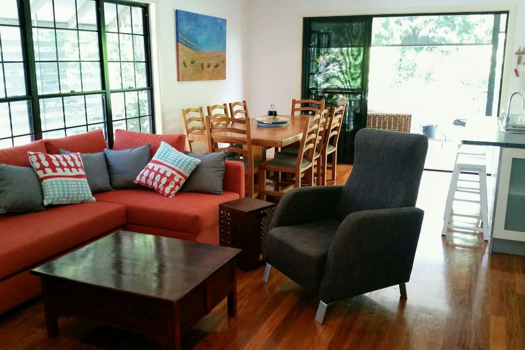 Large open living & dining area.
