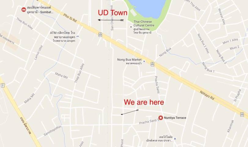 Chang Noi Rooms, ideally situated by UD Town