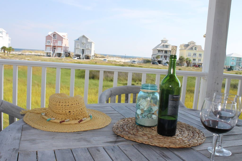 Relax on the lower deck with views of the gulf.
