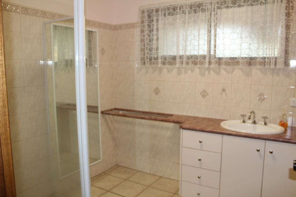 Shower, vanity and separate toilet