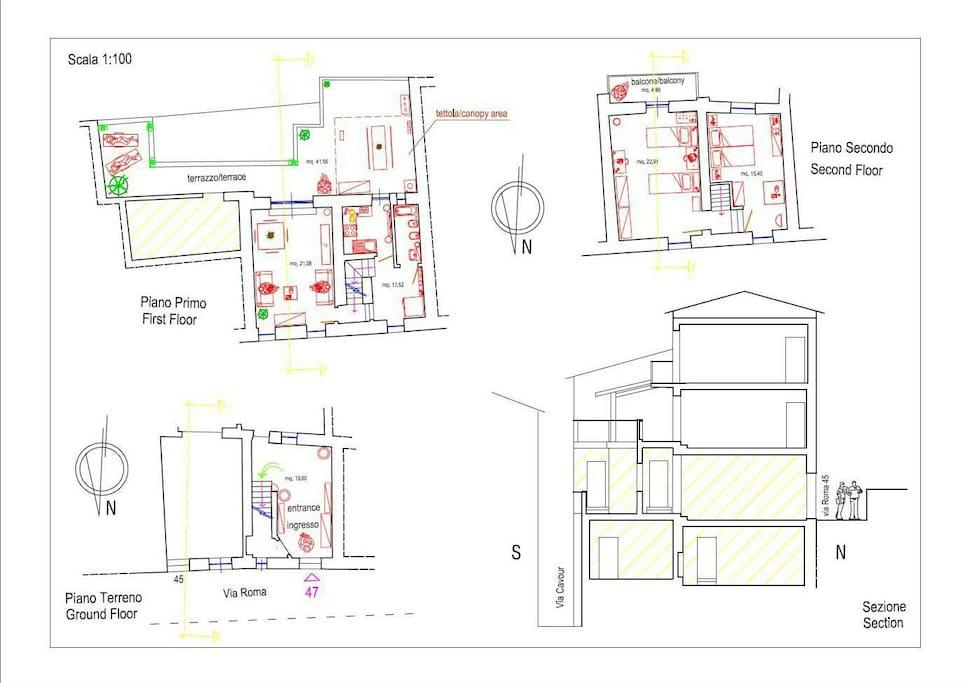Planimetria e Sezione alloggio