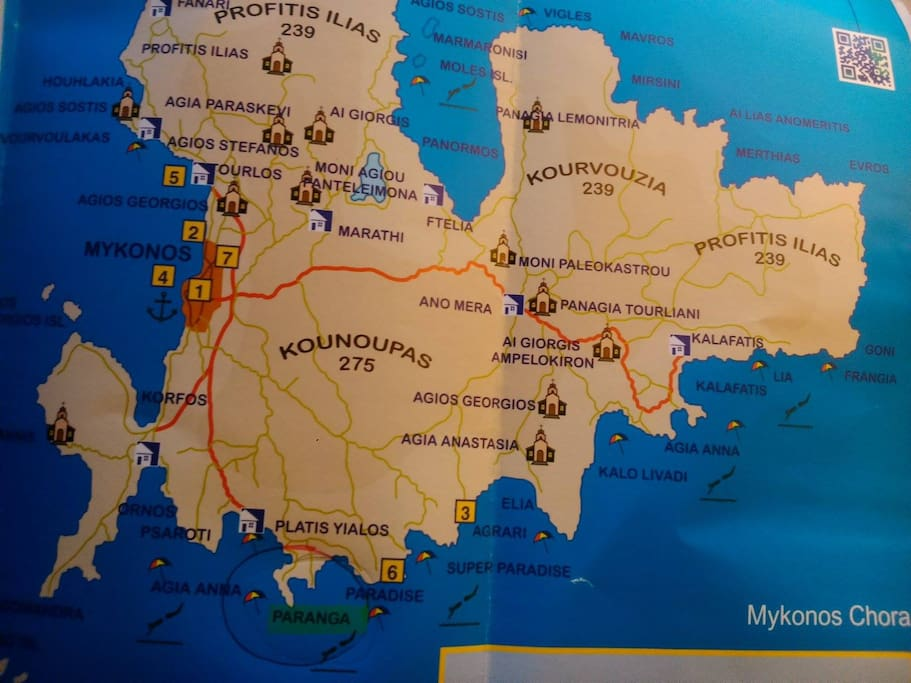 A map of Mykonos island with the exact location of Paranga Beach, in its southern part, where the villa is situated.