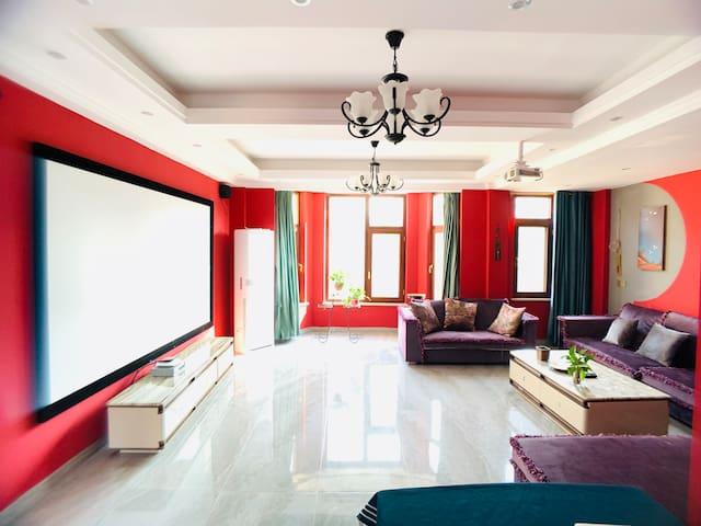 荷塘月舍双拼别墅新中式三居室投影套房