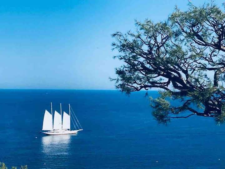 Maison bord de mer -  vue 180 mer - plage - Eze