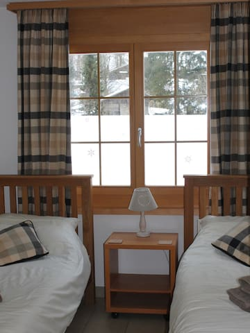 Twin room with view of Staubbach Falls