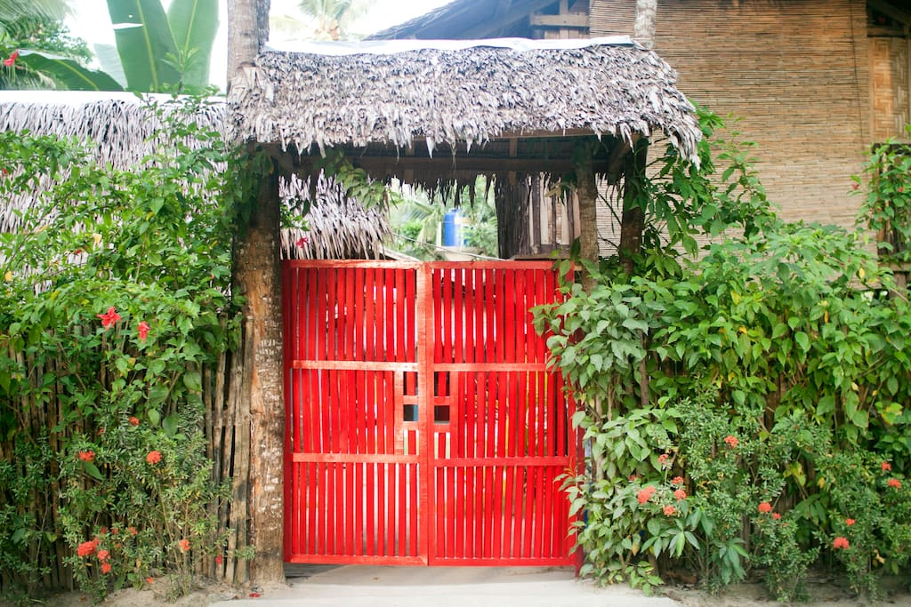 You can't miss our red wooden gate
