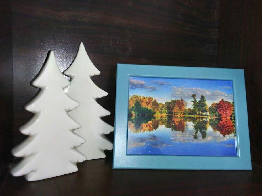 圣诞树,风景相框。