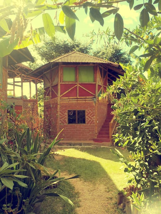 The chalets are built with bamboo and earth adobe bricks