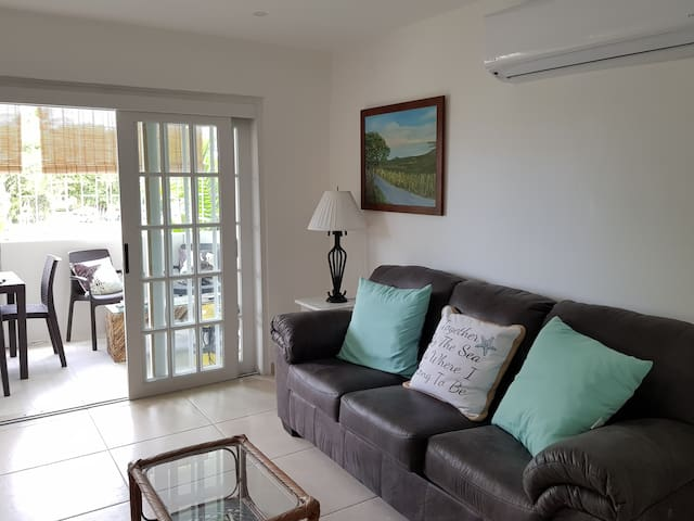 The living room is air conditioned for your comfort.  The sofa converts to a bed .