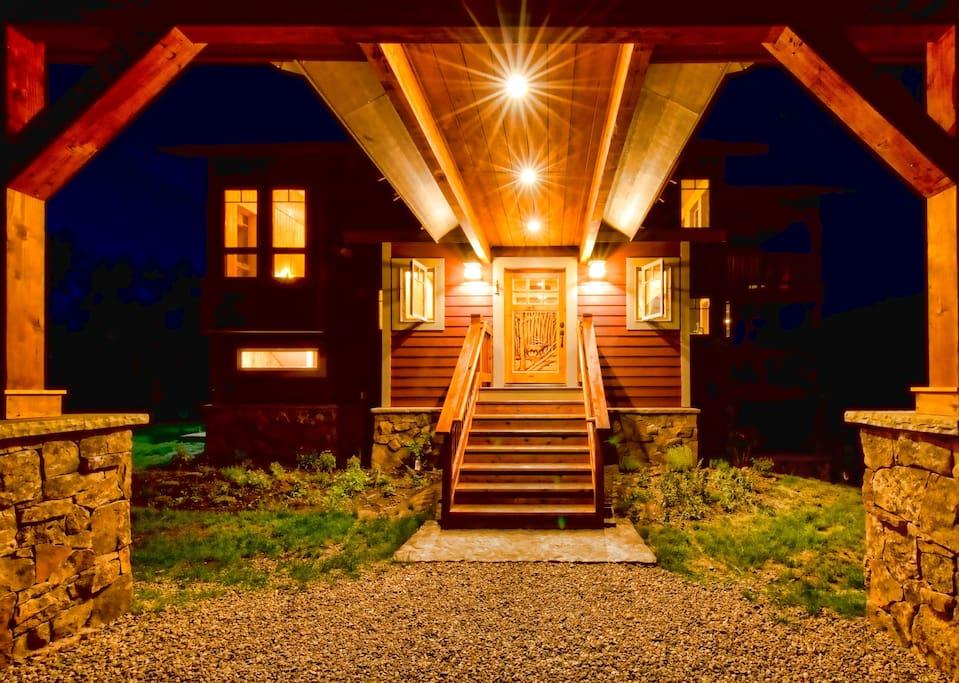 Wild Skies Cabin in NW Colorado Carport Front Door Entry during Summer