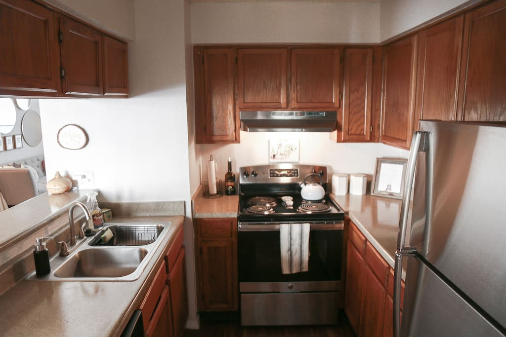 The kitchen is fully-stocked with tons of appliances and everything you'd need to make your stay convenient to cook in!