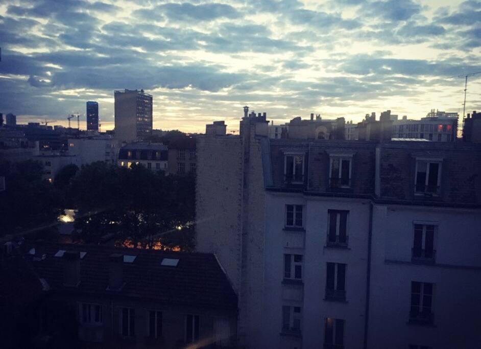 Buttes au cailles, vue sur la tour Montparnasse et Paris : 5 ème etage sans ascenseur