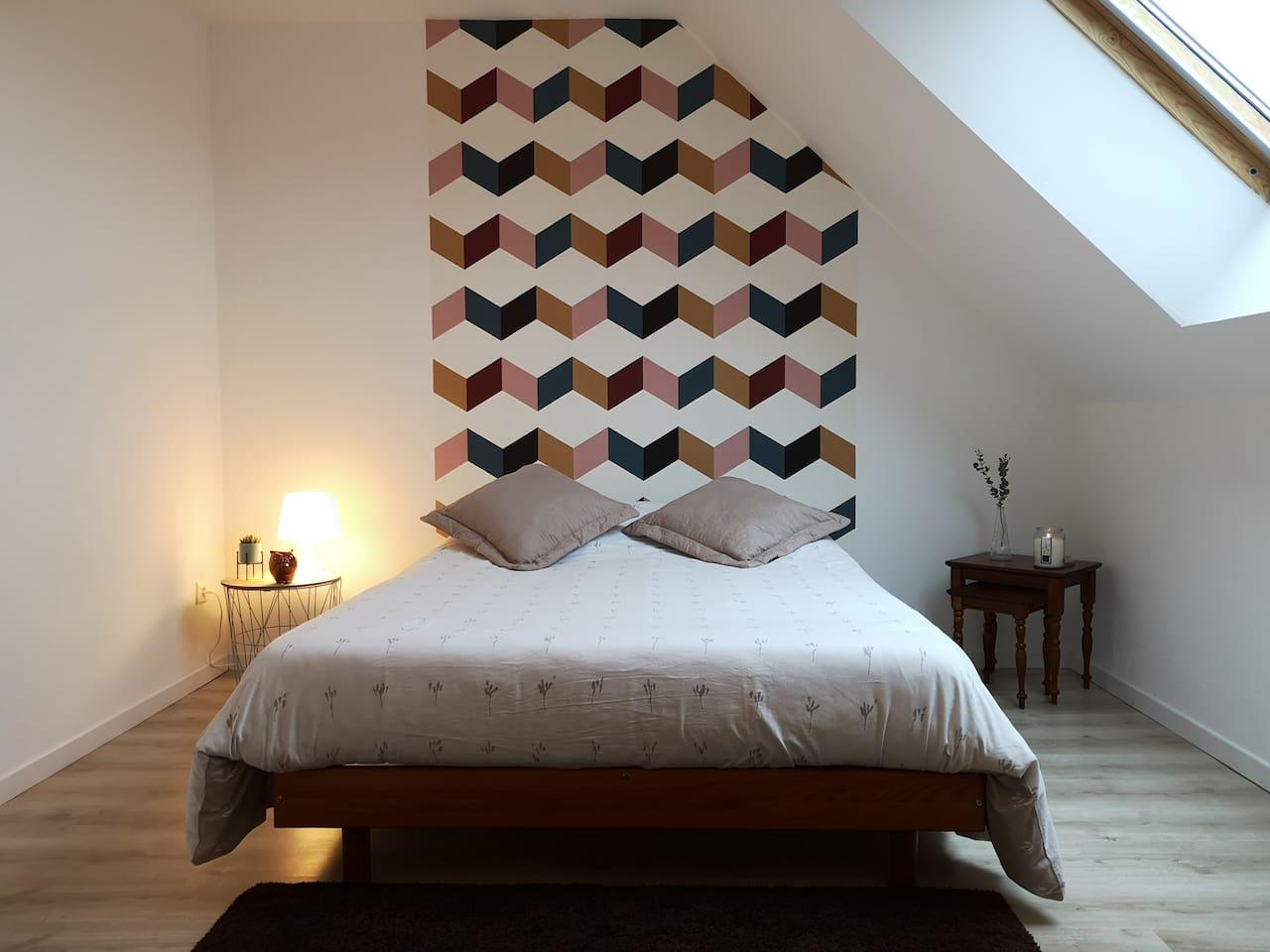 Chambre 1 : lit deux personnes avec un bel espace de rangement (grand placard avec cintres et étagères), patères dans l'entrée, un grand fauteuil, plusieurs prises.