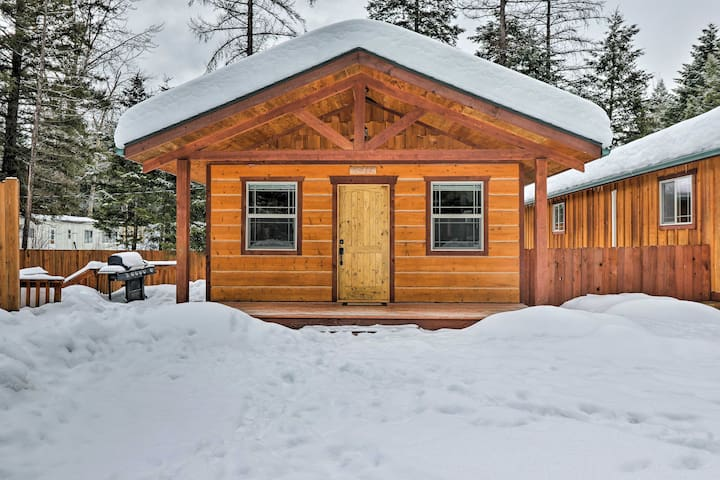 NEW! 2BR Hungry Horse Cabin w/ Patio & Fire Pit!