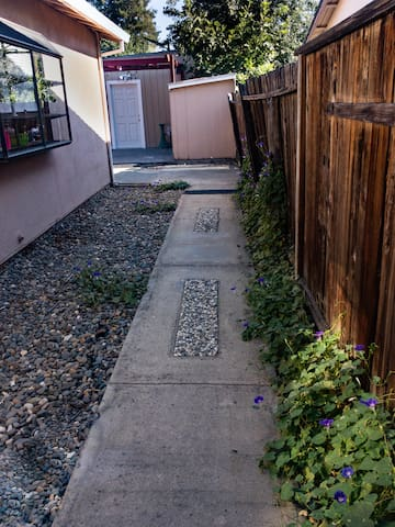 The walking path is lined with morning glories in the spring and summer. The white door is the entrance to Chez Moi
