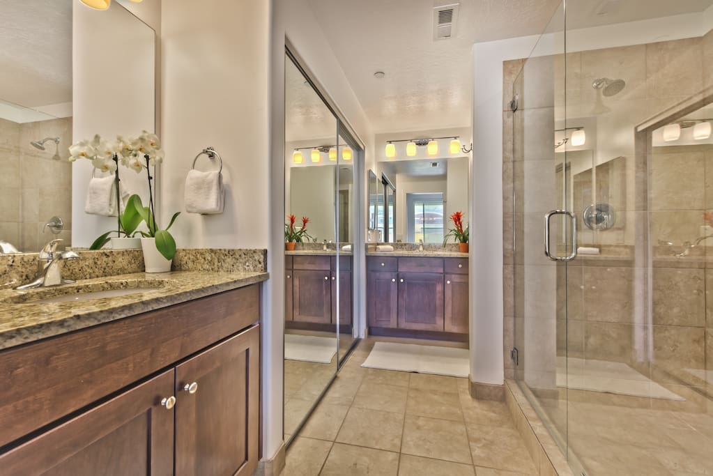 Giant bathroom with party shower.