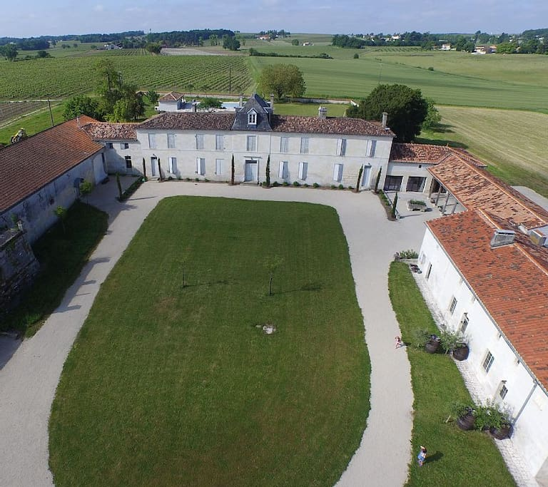 Aerial shot of La Cannonerie courtyard