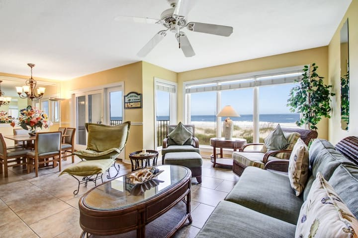 Oceans of Amelia #104:  Remodeled oceanfront condo.  Steps to the beach and walking distance to restaurants and parks.