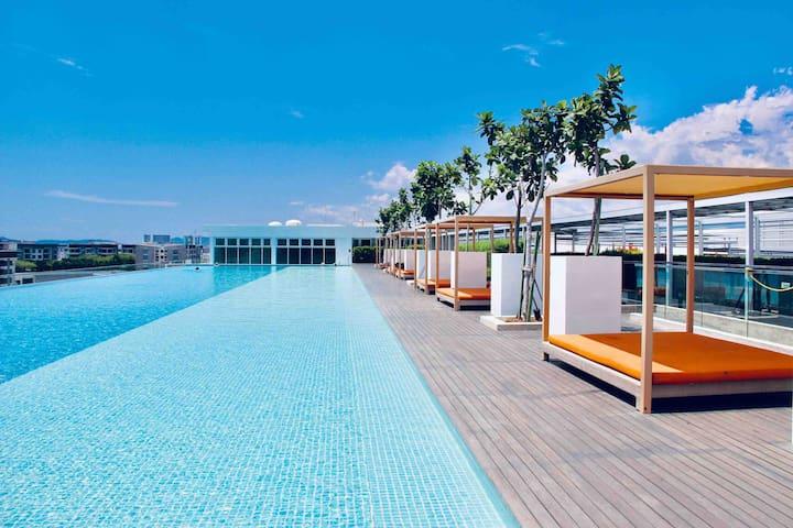 Sutera Avenue 市区高级海景公寓B座,免费泳池,健身房