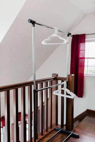 Hanger space in the loft bedroom