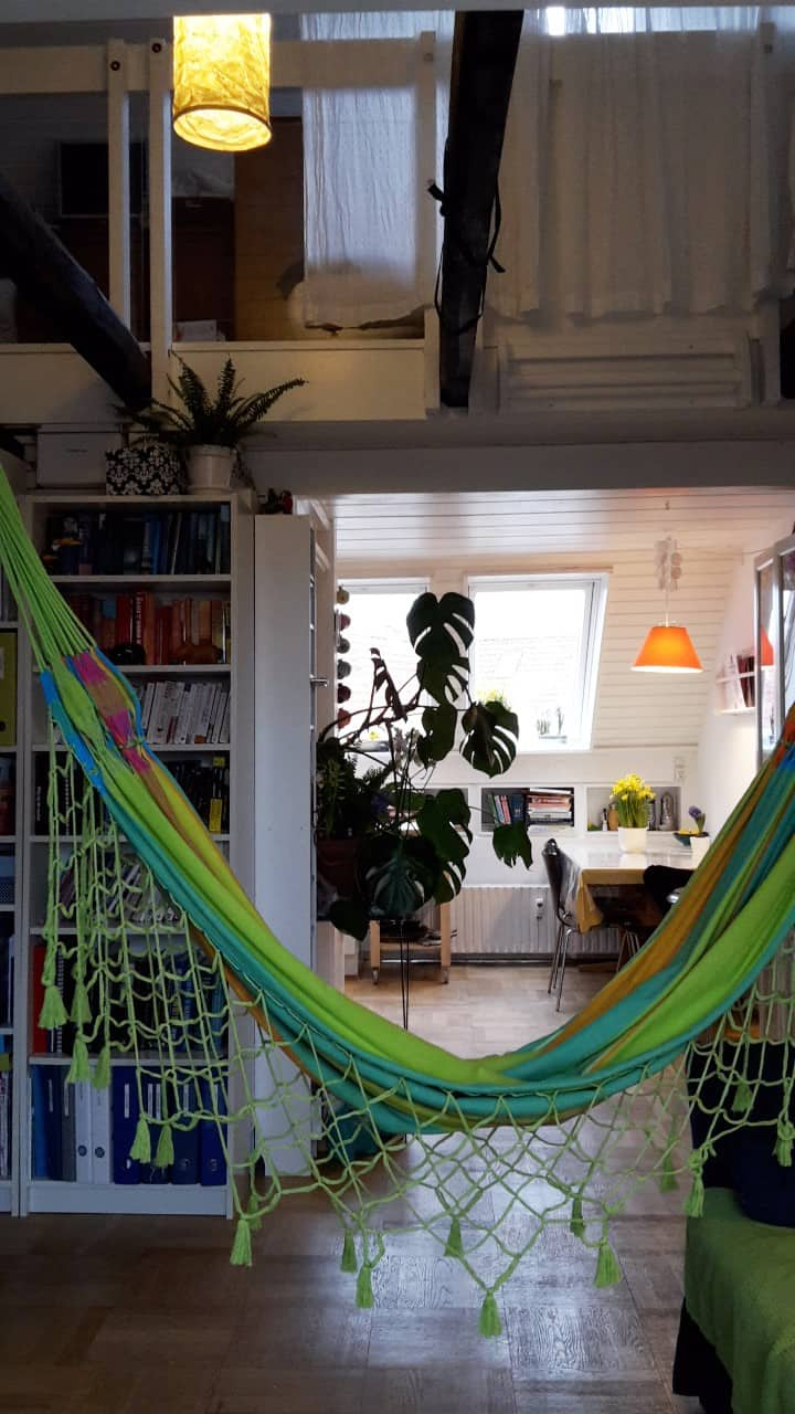 Bohemian studio apartment with hammocks