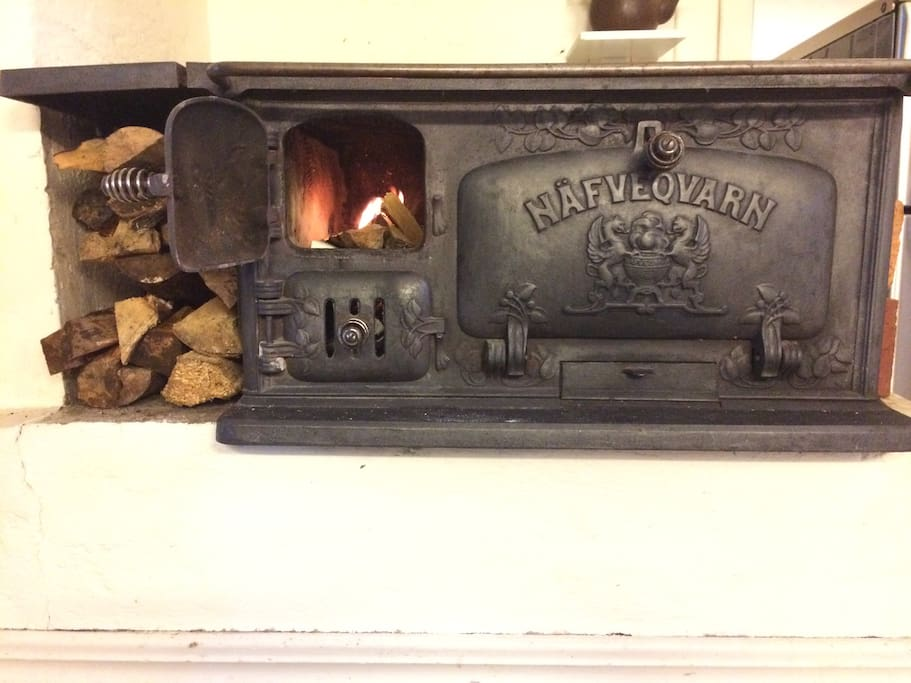 Wood-burning stove in kitchen, use autumn to spring